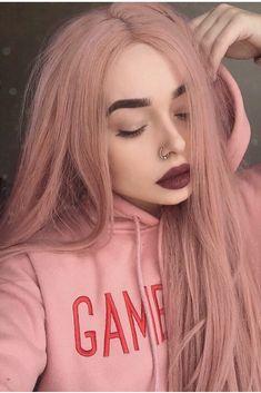 Pink Hair Dye, Pastel Pink Hair, Pink Wig, Hair Color Pink, Cool Hair Color, Dyed Hair, Dusty Pink Hair, Girl With Pink Hair, Peach Hair