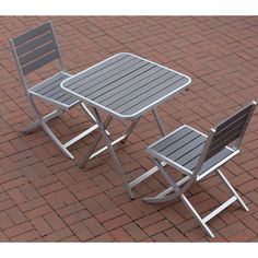 Cortesi Home Maxwell Slate Outdoor Folding Three-piece Chairs and Table Set