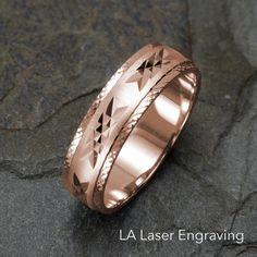 Mens Wedding Ring, Rose Gold Wedding Band, Wedding Ring, Solid Gold Band, Gold Ring, Wedding Ring Mens, 14k Rose Gold Ring, Unique Band by LALaserEngraving on Etsy