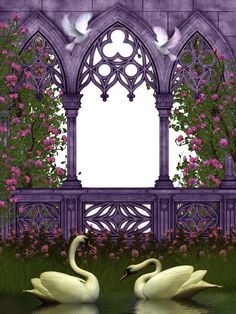 ground rose by beilart (deactivated) creeping plants by zememz (in storage) roses from jaguarwoman shop (purchase) grass by romiposer gate by CHEYENNE75