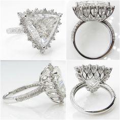 7.10ct Estate Vintage Trillion Diamond Engagement by DiamondViolet