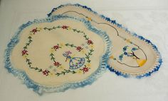 Vintage linen hand embroidered Crinoline Lady by VintageATreasures