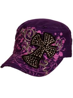 Crystal Cross Distressed Purple Cadet Cap. Amber Bryant · Hats 2bface50c265