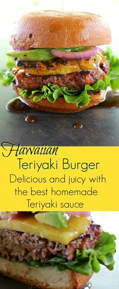 Hawaiian Teriyaki Burger The meat for this delicious burger is infused with grated carrot, scallions, ginger, and just enough jalapeno. The perfect Teriyaki sauce is fresh and light. Grilling Recipes, Beef Recipes, Cooking Recipes, Hamburger Recipes, Hawaiian Burger, Hawaiian Teriyaki Burger Recipe, Teriyaki Burgers, Turkey Burgers, Veggie Burgers
