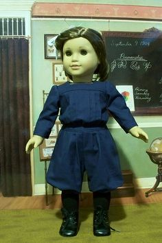 rebecca rubin ponytail bloomers and blouse blue gymsuit 1910s