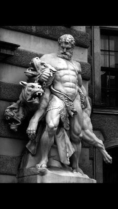 greek statue Hrcules and Cerberus Heldenplatz, Vienna Lorenzo Mattielli Ancient Greek Sculpture, Greek Statues, Ancient Art, Buddha Statues, Angel Statues, Statue Tattoo, Greek God Tattoo, Sculpture Romaine, Greek Mythology Tattoos