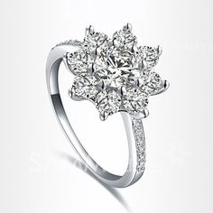 $4.03 Fashion Diamante Snowflake Embellished Alloy Ring For Women