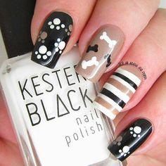 Pretty nail colors and designs new nails ideas cute nail designs games cute nail designs black pink Dog Nail Art, Animal Nail Art, Dog Nails, Fancy Nails, Trendy Nails, Cute Nails, Paw Print Nails, Nail Art Designs, Animal Nail Designs