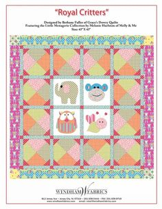 Royal Critters by Bethany Fuller of Grace's Dowry Quilts
