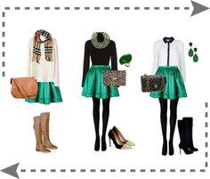 Green Pleated Skater Skirt