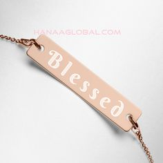 Blessed Engraved SilverNecklace   Sterling silver (AG-925) pendant and chain with coating2 coatings available: 18K rose gold, 24K goldNickel-free pendant, chain, and coatingPendant size: 0.28'' x 1.22'' (7 x 31 mm)Pendant thickness: 0.02'' (0.5 mm)Pendant is connected to the chain with open jump ringsSpring ring clasp closure 18k Rose Gold, Toms, Blessed, Swag, Closure, Personalized Items, Chain, Sterling Silver, Pendant