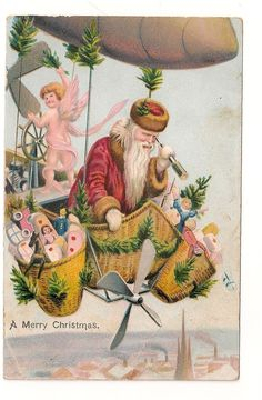 Santa / dirigible  Father Christmas flies through the air in airship - angel at the navigation wheel - Santa holds telescope as he peers below - propellors  Source is eBay so original illustration may disappear