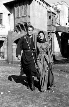 """The 1959 Academy Award®-winning film """"Ben-Hur"""" starred Charlton Heston (left) in the title role for which he won the Best Actor Oscar®. Heston is pictured here on the film's set in Rome with Haya Harareet (right), who played Esther. Golden Age Of Hollywood, Hollywood Stars, Classic Hollywood, Old Hollywood, Hollywood Actor, First Ladies, Ben Hur Charlton Heston, Ben Hur 1959, Hollywood Actresses"""