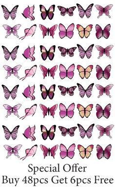 48 X PRE-CUT PINK MIX BUTTERFLY EDIBLE RICE / WAFER PAPER CUP CAKE TOPPERS BIRTHDAY PARTY WEDDING DECORATION - http://www.weddings-on-a-budget.co.uk/48-x-pre-cut-pink-mix-butterfly-edible-rice-wafer-paper-cup-cake-toppers-birthday-party-wedding-decoration/