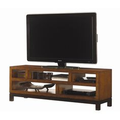 Ocean Club Pacifica Entertainment Console with Five Shelves by Tommy Bahama Home - Baer's Furniture - TV or Computer Unit Miami, Ft. Lauderdale, Orlando, Sarasota, Naples, Ft. Myers, Florida