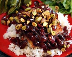 Mahi-Mahi with Cherry Sauce and Pistachios on Jasmine Rice - with recipe