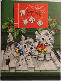 "Vintage ""Kittens Tickling the Keys"" Christmas Card, Marjorie Cooper"