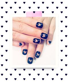 Eye Candy Alert: Valentine's Day Nail Art apply heart stickers to nails. paint then remove when dry.