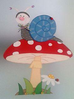 Fensterbild Pilz mit Schnecke Frühling -Küche-Dekoration - Tonkarton!