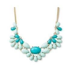 """Women's Statement Necklace with Mixed Tonal Beads Green/Gold (16"""")"""
