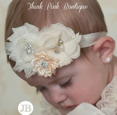 Baby headband, baby headbands, Ivory headband,newborn headband,baptism headband, Christening Headband, Easter Headband, Baby Hair Bows.