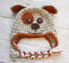 Tığ işi Köpek Desenli Bebek Beresi Modeli Resimli Açıklamalı 5