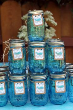 Baby Whale baby shower mason jars for beverages, tags cut with Cricut mini