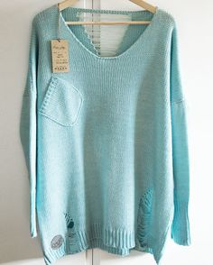 swetry-sweter HAPPY LOOSE - MINT