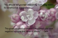 Tell yourself frequently...I will only react to constructive suggestions. This gives you positive ammunition against your own negative thoughts and those of others.  - Seth  #quote #Seth #negative #thoughts  www.wandavirgo.com