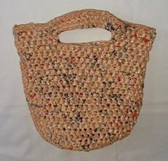 "Crochet a bag out of ""plarn"" plastic yarn...from grocery bags!  Can't wait to do this."