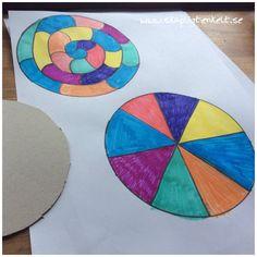 Färgsnurra av papper, pyssel, färglära,