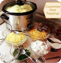 Mashed Potato Bar | Meals.com - A smash hit! Serve the most tempting and tasty 'tater toppings this Thanksgiving day, as leftovers, or your next dinner party! From a standalone scoop to fully loaded, Mashed Potato Food Bars please picky eaters and adventurers alike. #partyideas #mashedpotatobar #mashedpotatoes #potatoes