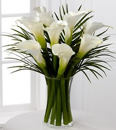 Endless elegance calla lily bouquet -  white calla lilies and vibrant green palm leaves