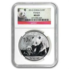 2012 Silver Chinese Panda 1 oz - MS-69 NGC
