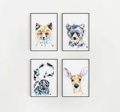 Set of 4 Woodland Animal Prints, Forest animal nursery, Woodland baby room, fox art print, deer pain Forest Animals, Woodland Animals, Animal Art Prints, Fine Art Prints, Baby Room Paintings, Bear Watercolor, Fox Art, Woodland Baby, Animal Nursery