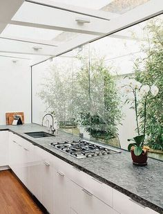 Modern Los Angeles renovation by Don Dimster with glass buffer, ikea cabinets, quartzite countertops and Bertazonni grill top in the kitchen-window Glass Kitchen, White Kitchen Cabinets, New Kitchen, Ikea Cabinets, White Cabinet, Kitchen White, Awesome Kitchen, Kitchen Windows, Beautiful Kitchen