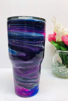 Galaxy tumbler - Ozark Trail custom epoxy tumbler, alcohol ink and glitter - Becher - Glow Stick Jars, Glow Jars, Glow Sticks, Diy Tumblers, Custom Tumblers, Glitter Tumblers, Acrylic Tumblers, Tumblr Cup, Diy Epoxy