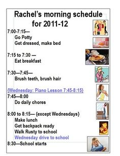 Morning schedules for kiddos!