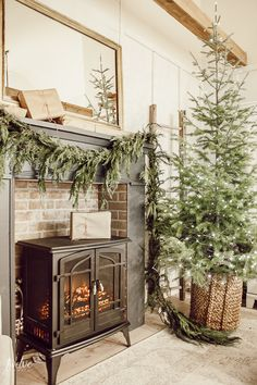 farmhouse style christmas bedroom decor with a beautiful faux brick fireplace mantel painted in