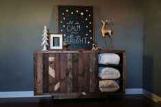"""Lighted Holiday Chalkboard Sign """"All is Calm, All is Bright"""""""