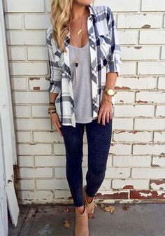 You can never go wrong with a blouse, let alone this white plaid button-down blouse. Get one for your fall wardrobe at Fichic.com!