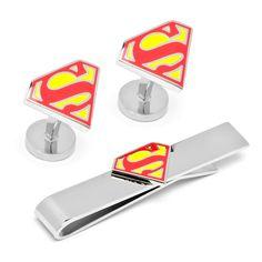 DC COMICS ENAMEL SUPERMAN SHIELD TIE BAR AND CUFFLINKS GIFT SET by Cufflinksman