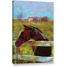 ArtWall Greg Simanson Horse Field Gallery-wrapped Canvas, Size: 32 x 48, Blue