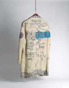 Leather jacket tagged by Jean-Michel Basquiat and other artists