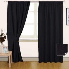 Black Pencil Pleat Blackout Curtain Pair
