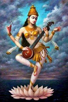Saraswati Goddess, Kali Goddess, Goddess Art, Saraswati Mata, Shiva Art, Krishna Art, Hindu Art, Pichwai Paintings, Indian Art Paintings