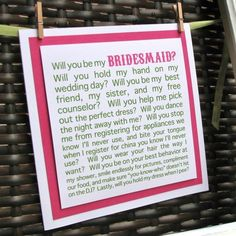cute way to ask bridesmaid
