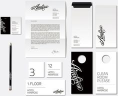 stationery, clean, simple, type, black & white