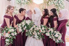 Orchardview Wedding Ottawa - Winter wedding with lavish florals! Arab Wedding, Wedding Tags, Burgundy Bridesmaid, Bridesmaid Dresses, Blush Gown, Muslim Brides, Wedding Bouquets, Wedding Dresses, Beauty Studio