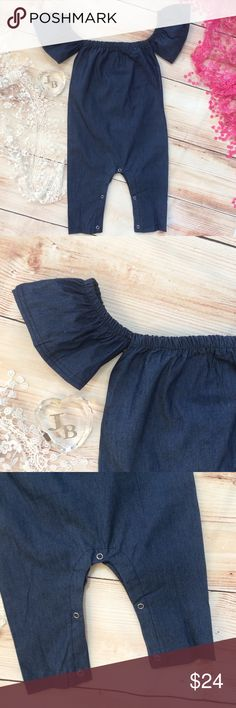 Boutique Baby Girl Trendy Denim Romper Trendy baby design features denim romper with gathered shoulders and neckline. Sleeves can be worn on or off the shoulders. Snaps at legs. One Pieces